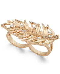Thalia Sodi Gold Tone Crystal Feather Double Finger Ring Only At Macy's