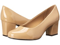 Trotters Candela Nude Soft Patent Leather High Heels Beige
