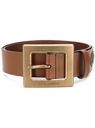 Dolce And Gabbana Western Patch Belt Brown