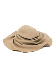 Horisaki Design And Handel Crumpled Wide Brim Hat Nude And Neutrals
