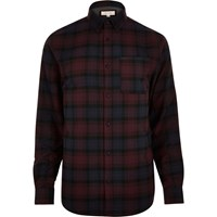 River Island Mens Dark Purple Check Flannel Shirt