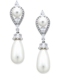 Eliot Danori Alhambra Silver Tone Glass Pearl Teardrop Earrings