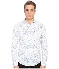 Armani Jeans All Over Printed Cotton Popeline White Blue