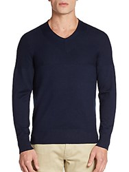 Kent And Curwen Merino Wool Blend V Neck Sweater Navy