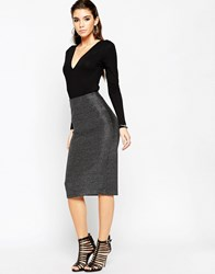 Asos Night Pencil Skirt In Metallic Texture Silver