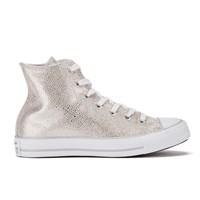 Converse Women's Chuck Taylor All Star Sting Ray Leather Hi Top Trainers Pure Silver Black White