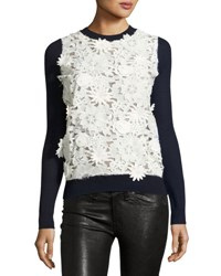 Prabal Gurung Lace Front Cashmere Sweater Navy