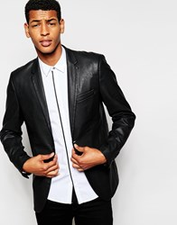Antony Morato Faux Leather Blazer In Super Slim Fit Black