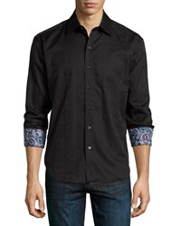 Robert Graham Salisbury Damask Print Long Sleeve Woven Shirt Black
