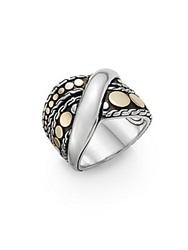 John Hardy Dot Menari 18K Yellow Gold And Sterling Silver Twist Ring
