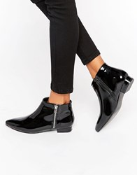 London Rebel Patent Point Flat Side Zip Boots Black Patent