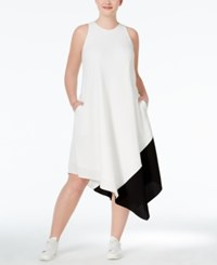 Rachel Rachel Roy Plus Size Colorblocked Handkerchief Hem Shift Dress White