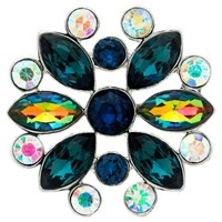 Monet Ab Navette And Round Cut Glass Crystal Brooch Navy Multi