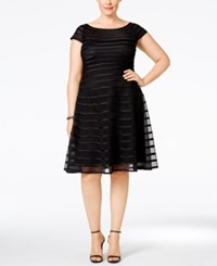 Betsy And Adam Plus Size Mesh Striped A Line Dress Black