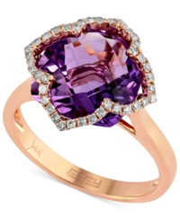 Effy Collection Lavender Rose By Effy Amethyst 5 3 4 Ct. T.W. And Diamond 1 5 Ct. T.W. Clover Ring In 14K Rose Gold
