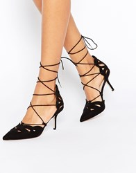 Asos Siren Lace Up Pointed Heels Black