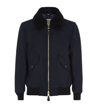 Burberry Shearling Collar Bomber Jacket Male Navy