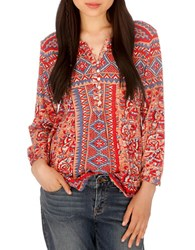 Lucky Brand Floral Tribal Print Blouse