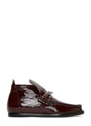 Acne Studios Kerin Patent Loafer Boots Red