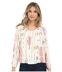Bb Dakota Clifford Tribal Detail Printed Heavy Rayon Challi Peasant Top Multi Women's Blouse