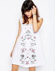 Asos Pretty Embroidery And Lace Sundress White