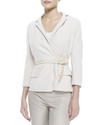 Kaufman Franco Crepe Wrap Belted Jacket 12