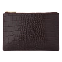 Whistles Shiny Croc Leather Small Clutch Bag Burgundy