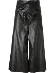 Msgm Faux Leather Culottes Black