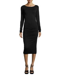 Max Studio Long Sleeve Twisted Side Dress Black