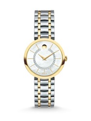 Movado 1881 Automatic Diamond Mother Of Pearl And Two Tone Stainless Steel Bracelet Watch Silver Gold