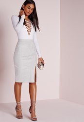 Missguided Thigh Split Faux Suede Midi Skirt Grey Grey