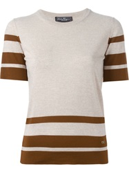 Salvatore Ferragamo Striped Knit Top Nude And Neutrals