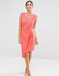 Little Mistress Pencil Dress With Embroidered Neckline Coral Pink