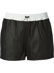 T By Alexander Wang Contrasting Waistband Shorts Black