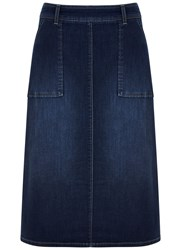 Mint Velvet Mid Indigo Side Split Denim Skirt Blue