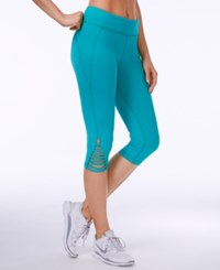 Trina Turk Strappy Cropped Leggings Teal