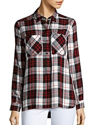 Saks Fifth Avenue Long Sleeve Plaid Shirt Richmond Red