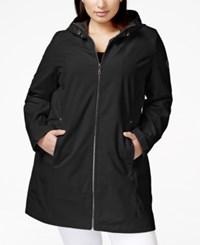 Calvin Klein Plus Size Hooded Raincoat Black