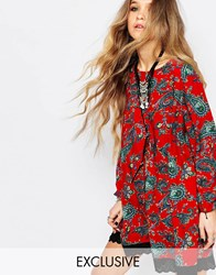Reclaimed Vintage Long Sleeve Tunic Dress With Tie Back Detail In Red Floral Red
