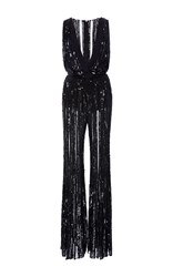 Elie Saab Sleeveless Flare Embroidered Jumpsuit With Deep V Neck Black