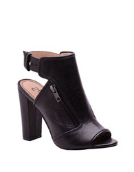 Splendid Janet Open Toe Leather Ankle Booties Black