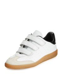 Isabel Marant Beth Pinked Trim Grip Strap Sneaker White