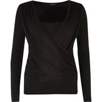 River Island Womens Black Ruched Wrap Top