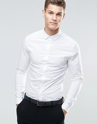 Asos Skinny Shirt In White With Button Down Collar And Long Sleeves White