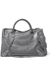 Balenciaga Metallic Edge City Textured Leather Shoulder Bag Gray