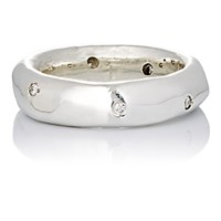 Ali Grace Women's White Diamond And Sterling Silver Band Silver No Color Silver No Color