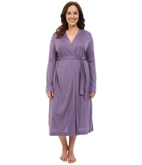 Yummie Tummie Plus Size Pima Jersey Long Robe Mulled Grape Women's Robe Navy
