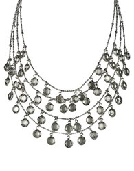 Abs By Allen Schwartz Silvertone Clear Stone Layered Drop Necklace