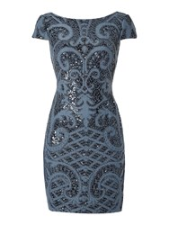Adrianna Papell Cap Sleeve Sequin Shift Dress Blue