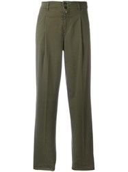Closed Pleat Detailing Straight Trousers Green